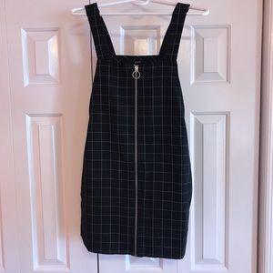 Forever 21 grid print overall mini dress
